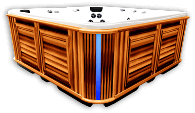 Side view of a hot tub with Corner Accent blue Light turned on